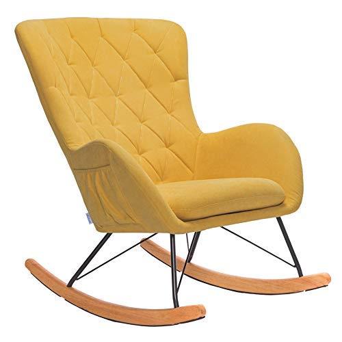 DLILI Relax Mecedora cómotela Lino Mecedora Silla Relajante Tradicional reposabrazos sillón con cojín Tela (Amarillo)