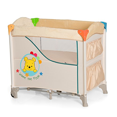 Hauck/Disney Sleep N Care bijzetbed/reisbed/inclusief matras, wielen, spullenspullen zakken en draagtas/opvouwbaar, inklapbaar en draagbaar, Pooh Redy to Play (Beige)