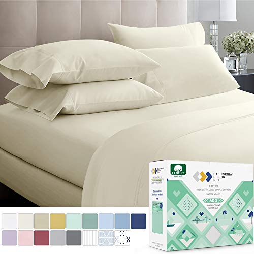 California Design Den 600 Thread Count 100% Cotton Sheets – Ivory Extra Long-Staple Cotton Full Sheets, Fits Mattress 16'' Deep Pocket, Sateen Weave, Soft Cotton 4 Piece Bed Sheets Set