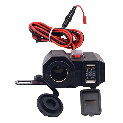 REFURBISHHOUSE Wasserdicht Dual USB Motorrad Zigarettenanzuender Roller ATV 12V Adapter Splitter Power Port LED Spannungsanzeige 4.2A