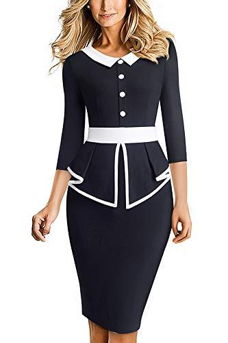 HOMEYEE Women's Elegant 3/4 Sleeve Lapel Peplum Patchwork Bodycon Office Dress B558 (UK 12 = Size L, Black)