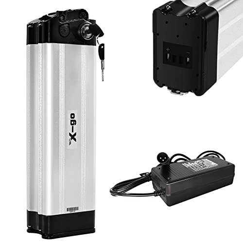 X-go E-Bike Pedelec Battery 36V 10Ah 10.4Ah 360WH Lithium Akku,for 100W 200W 250W 350W Motors, for MiFa Rex Prophete Aldi Bike, Suitable for Phylion/XH370-10J, Zhenlong/ZL1010-F (36V 10AH 2 Port)