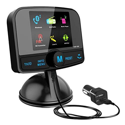 Adaptateur radio DAB / DAB + pour auto, autoradio Esuper avec kit mains libres bluetooth, Transmetteur DAB, Transmetteur FM, Aux entrées / sorties, Carte TF Lecteur de musique, 60 stations préréglées