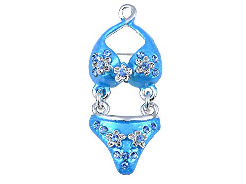 ALILANG Swarovski KristallElemente Itsy Bitsy Blue Flower Bikini SummerTimeBrosche
