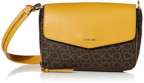 Calvin Klein Women's Ava Signature Demi Shoulder Bag, Brown/Khaki/Dijon linear, One Size