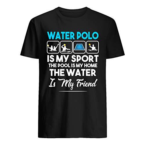 AKDesigns - Maglietta da pallanuoto con scritta 'The Pool is My Sport', la piscina è la mia casa e l'acqua è il mio Nero S