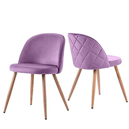 JGONas Velvet Plush Soft Seat, Kissen Velvet Dining Chairs Stoff Gepolsterter Sitz mit Wood Legs Dressing Lounge Home Purple