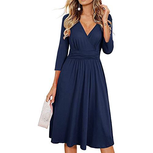 URIBAKY Damenmode Langarmkleid Strickkleid mit Langen Ärmeln O-Ausschnitt Personalisiertes Kleid Langes Kleid Maxikleid Abendkleider Lang