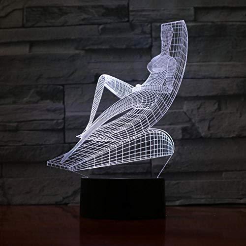 Nachtlicht Liegestuhl Sunbathe Design Touch Tischlampe Schreibtischlampe 3D Led Lampe Neuheit Nachtlichter Licht 3D