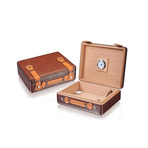 N/B Cigar Box, West Wooden Cigar Box Large Capacity 30 Sticks, Suitable for Smokers' Cigar Humidors and Cigar Accessories, Brown Leather Color Optional Good Mood, Good Life Cigar