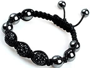 Shamballa Style Jewelry 3 Beads Red Pave Sparkle Crystal Ball Hand-Woven Bracelet Adjustable 3 Beads