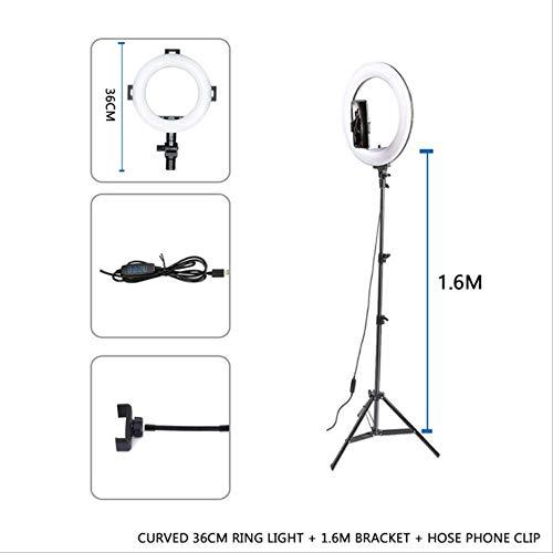 Aro de Luz Anillo Fotografía Led Selfie Ring Light Dimmable Fill Light Video Ring Lámpara con Soporte para Teléfono Trípode Soporte para Maquillaje En Vivo Verde