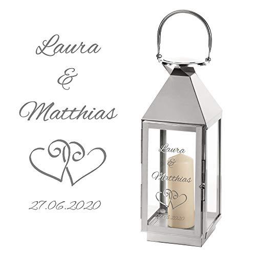 Casa Vivente Laterne aus Edelstahl mit Gravur zur Hochzeit, Personalisiert mit Namen und Datum, Motiv Herzen, Geschenkidee für Paare