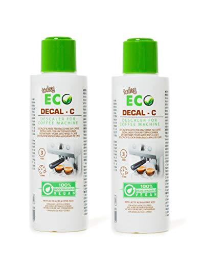 Eco Today Descalcificador para cafeteras, 2 Botellas (6 usos) Biodegradable, Natural a Base de ácido láctico. Descalcificador Compatible con Todas Las Cafeteras