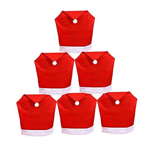 Tenrany Home Rouge Housse de Chaise Noel, Lot de 6 Père Noël Bonnet Couverture de Chaise Chapeau Christmas Chair Covers pour décoration dîner de Noël Xmas Party(Red 6)