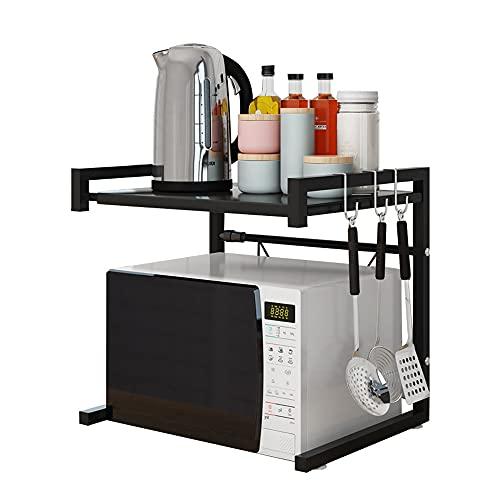 GDFFKS Rejilla Extensible para Horno microondas, Estante de extensión Horizontal para microondas, Organizador de encimera de Cocina, 2 Niveles con 3 Ganchos, para Horno Tostador