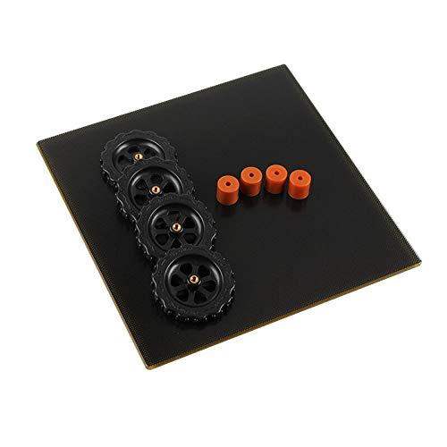 Ender 3 Pro Build Plate 220 * 220mm Crystal Gitter Glassplattform + 4st Handmutter + 4PCS 16mm Silikonkolumn för utbetalning Prusa i3 3D-skrivare CR-20 / ANET A8 / tronxy XY-2 (J) Ender Pei