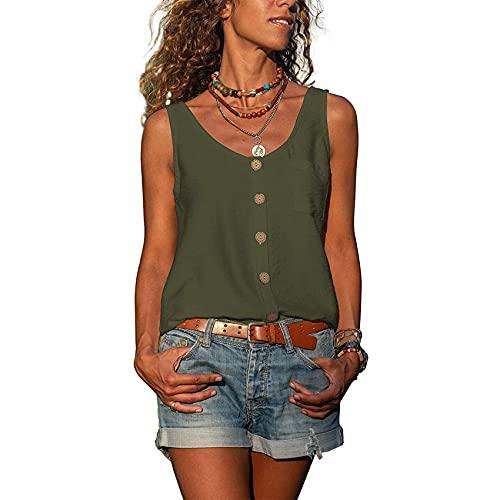 Primavera y Verano de Las Mujeres de Color sólido con Cuello en V botón Chaleco Camisa sin Mangas Bolsillo Informal Mangas Cortas Sueltas