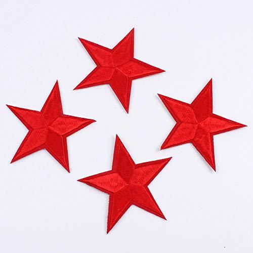 10pcs / lot naait Patch Red Star Quality Iron op stickers ster geborduurd linnen jasje patch toepassingen jeans punk schoenen