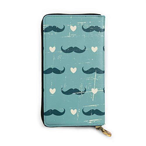 shenguang Moustache et Coeurs Femmes Grande capacité Cire de Luxe en Cuir véritable Organisateur portatif d'embrayage de Portefeuille