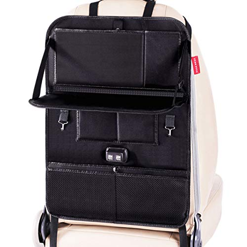 FineFun Premium Car Seat Back Organizer Travel Accessories, Car Seat Back Organizer with Foldable Table, 1 Pack