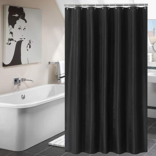 Hengweiuk Duschvorhang, wasserdicht, schimmelresistent, für Badezimmer, einfarbig, mit Vorhanghaken, 180 x 180 cm, 12 Haken aus reinem Kupfer, Schwarz, 180 * 200 cm