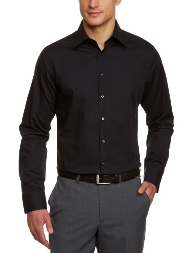 Seidensticker Herren Tailored Fit Businesshemd, Schwarz (Schwarz 84), 46
