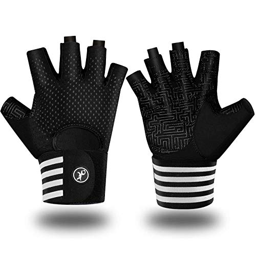 MOREOK Workout Gloves for Men Women, Weight Lifting Gloves Barehands Gloves Crossfit Gloves Ventilated Workout Gloves, Exercise Gloves with Wrist Wrap Support MK1001-Black-XL