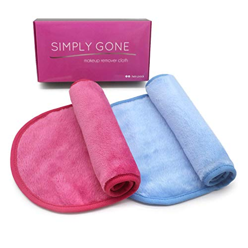 Simply Gone Make Up Remover Cloth (2 Pack). Reusable Microfibre Face Cloth...