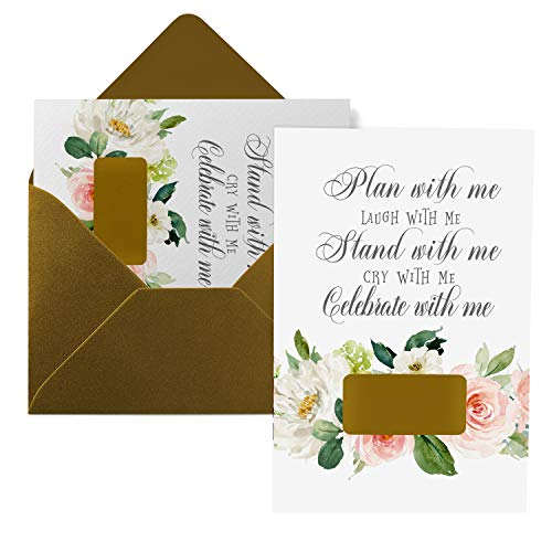Graceful Floral Bridesmaid Scratch Off Cards (8 Pack) Stand With Me Maid of Honor - Asking Best Friends - Can't Without You Matron of Honor - Bridal Party Proposal Set Includes Gold Envelopes