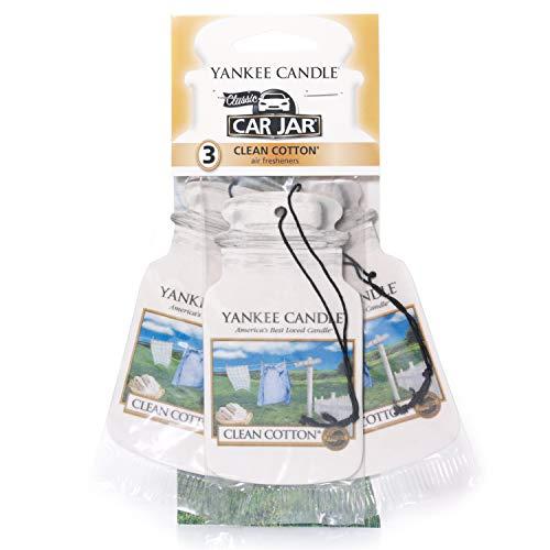 Yankee Candle 1114305E Deodoranti per Auto, Car Vaso Bonus Pacchetto di 3, Clean Cotton