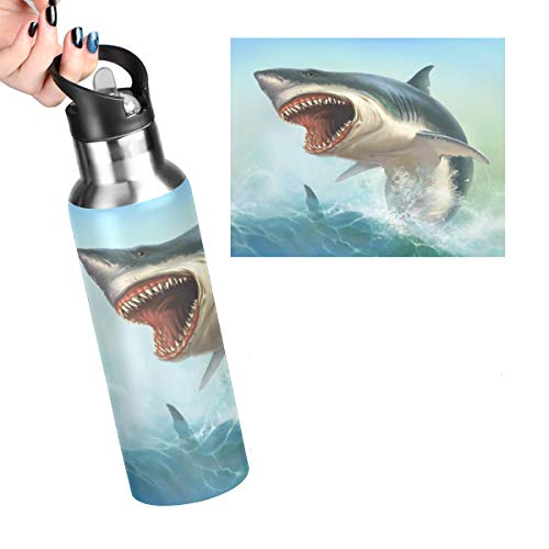 Big White Shark Leakproof Reusable Stainless Steel Water Bottle with Straw 20oz Sea Waves Coffee Travel Thermos Flask Double Walled Vacuum Insulated Thermoses for Women Men Kids