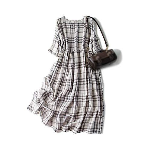 FANCYKIKI Das Kleid der Frauen Vintage England Plaid Grau Tropfen Schulter Ärmel Lose Rock Seidenkleid Kleider for Frauen Casual Sommer (Farbe : Light Gray, Size : M)