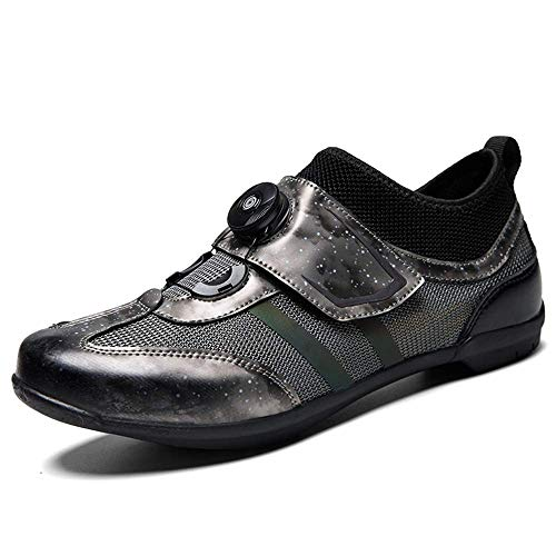 DWZRG Road Cycling Shoes Mens Womens Lock-Free Spin Bicycle Shoes MTB Cycling Shoes with Quick lace (Grey, 10.5 M US Women/9 M US Men)
