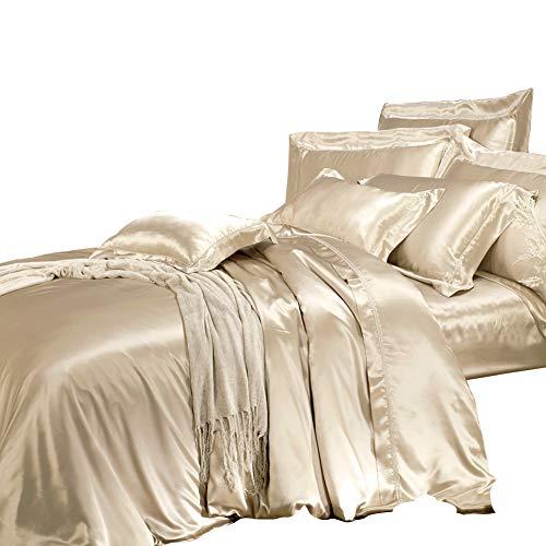 THXSILK Seidenbettwäsche Set 2 teilig, Bettbezug 135 x 200 cm und 40 x 80 cm Kissenbezug, Hypoallergen 19 Momme Maulbeerseide Bettwäsche, Ultra Weich und Glatt, Champagner