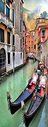 A.Monamour Pegatinas Decorativas de Puerta Autoadhesivo 3D Góndolas De Venecia Canales Arquitectura...