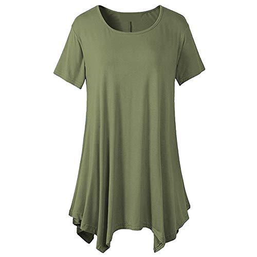 PRJN Camisas de Mujer con Volantes Tops Sueltos de túnica para Mujer Tops de Verano para Mujer Camiseta Casual de Manga Corta con Cuello Redondo Túnica para Mujer Camiseta Casual de Manga