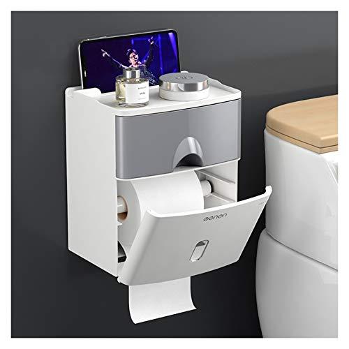 Xiaokeai Caja de dispensador de Tejido doméstico de Doble Capa con función de Almacenamiento Caja de Tejido Facial de Papel sin Punch para baño y Cocina (Color : Gray)