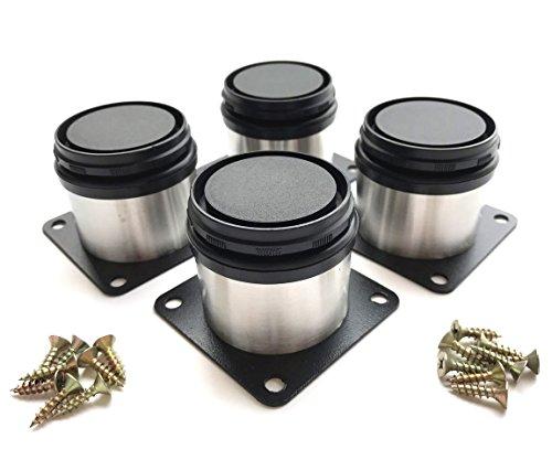 HEVERP (4-Pack) Furniture Cabinet Metal Legs Kitchen Adjustable Stainless Steel Feet Round (5CM)