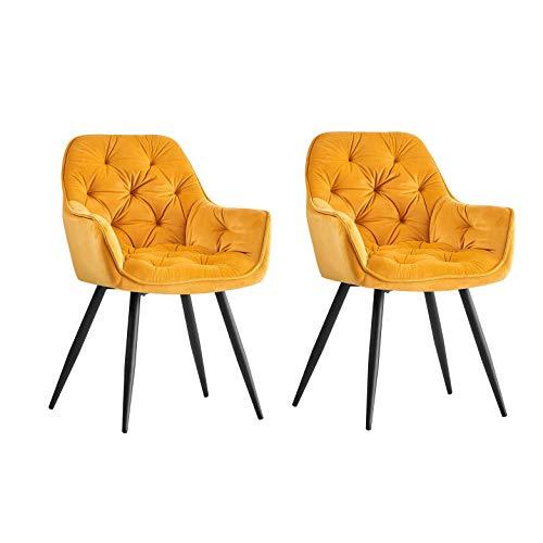 Greneric 2X Sessel Esszimmerstuhl aus Stoff (Samt) Wohnzimmerstuhl Farbauswahl Retro Design Armlehnstuhl Stuhl mit Rückenlehne Sessel Metallbeine Schwarz (Gold, 2)…