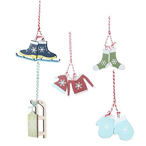 5-delige set Kerstmis houten decoratie hanger kleding handschoenen sokken slee skidecoratie hanger