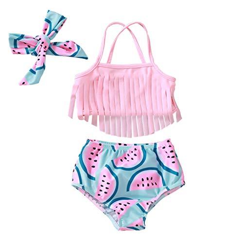 Vovotrade meisjes bikini badkleding set kwast lief watermeloen patroon meisjes tweedelig bikini badpak tiener badmode top zwempak tankini set 80/6-9 Monate roze