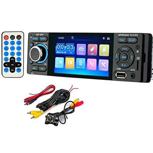 GOFORJUMP Radio de Coche 1 DIN JSD-3001 Radio de Coche Pantalla táctil de 4 Pulgadas Auto Audio Vínculo Espejo Estéreo Bluetooth Cámara de visión Trasera USB AUX Reproductor