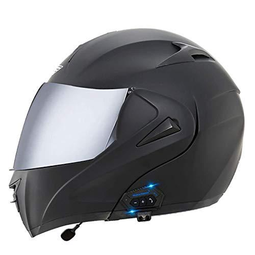 ACEMIC Casco Integrado Bluetooth para Motocicleta, Casco Modular para Motocicleta, Casco Integral abatible con Visera Doble, micrófono de Altavoz Dual Incorporado, certificación Dot para Hombres ad