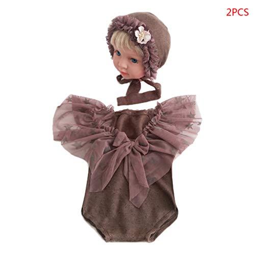 VIcoo hoed, 2-delig/los geboren baby foto rekwisieten outfits wraps kleding set kleine kinderen volledige maan fotografie accessoires