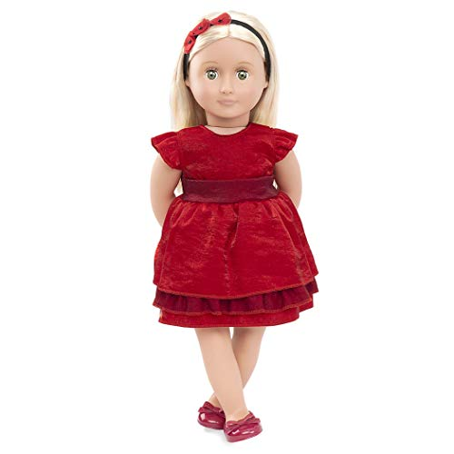 Our Generation 44724 Deluxe Doll w/Book Puppe Ginger mit rotem Kleid und Buch, 46 cm, Multi-Coloured