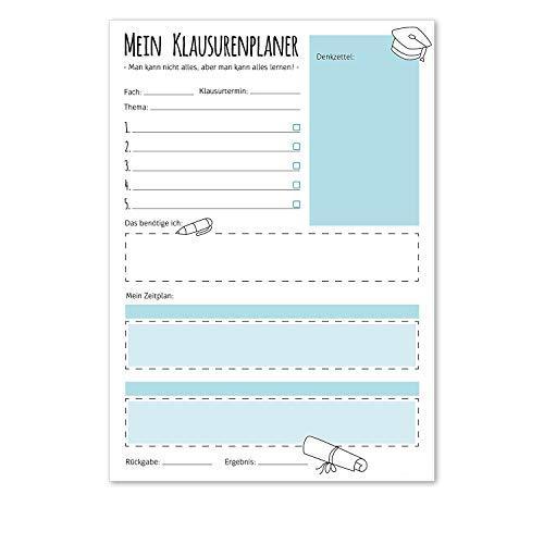 #detailverliebt Notizblock Mein Klausurenplaner I dv_205 blau I DIN A4 I 50 Blatt I Schreibblock to-Do-Liste Planer Schule Studium Lernphase Prüfungs-Vorbereitung