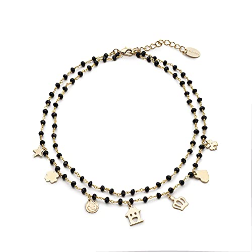 NICANDRA Gold Plated Lucky Horn Necklace - Double Strand Rosary Effect Black Crystals - Adjustable Up To 47 Cm - Made In Italy