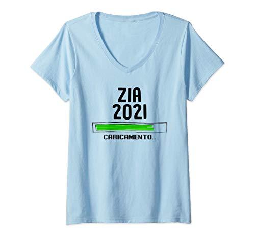 Donna Zia 2021 Loading Neonato Incinta Gravidanza Futur Regalo Maglietta con Collo a V