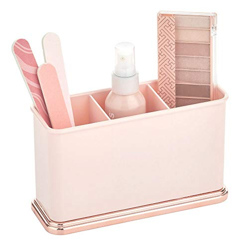 mDesign Organizador de maquillaje de plástico con 3 secciones para encimeras de baño o armario: almacena maquillaje, lápices de labios, pintalabios, brillo de labios,...